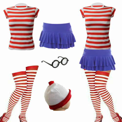 New Women/'s Red /& White Kit Strips Book Day Fancy Dress Costume Outfit XS-XXL
