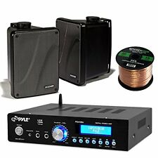 "Pyle PDA5BU Bluetooth USB Amplifier,Kicker 6.5"" Box Marine Speakers,Speaker Wire"