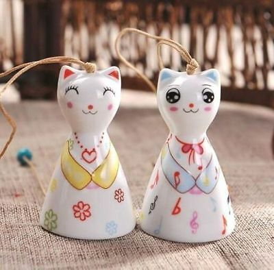 Home Ceramics Lucky Cats Feng Shui Blessing Good Luck Fortune Wind Chime 1pc ~