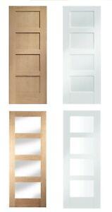 size 40 28c66 da119 Details about 4 Panel Shaker Internal Door - Oak + White / Solid + Glazed  (Jewson)
