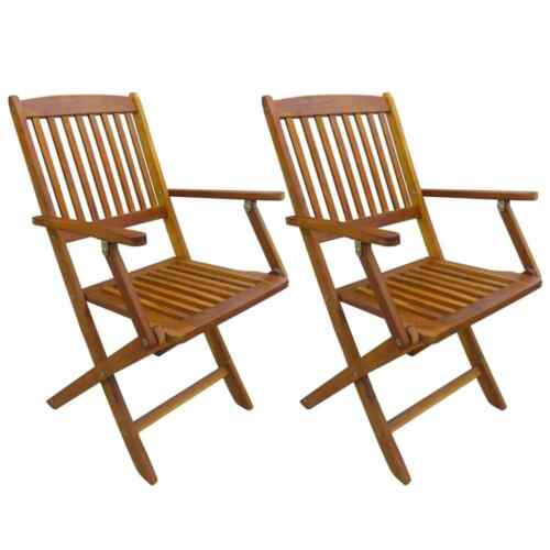 Garden Wooden Furniture 2pcs Dining Chairs Solid Acacia Outdoor Folding Chairs