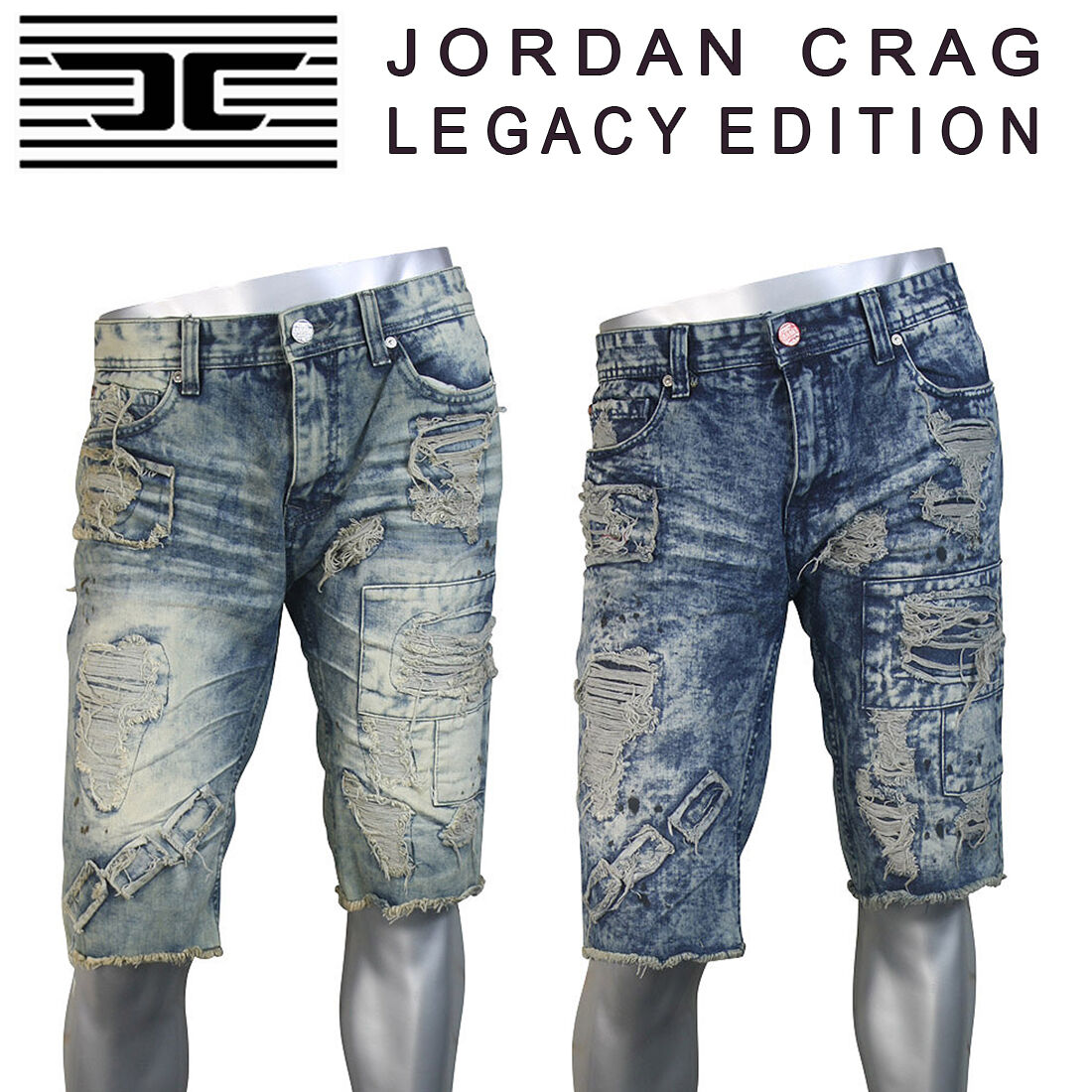 NEW MEN JORDAN CRAIG CUT OFF WASH JEAN SHORT DENIM RIPPED J221S