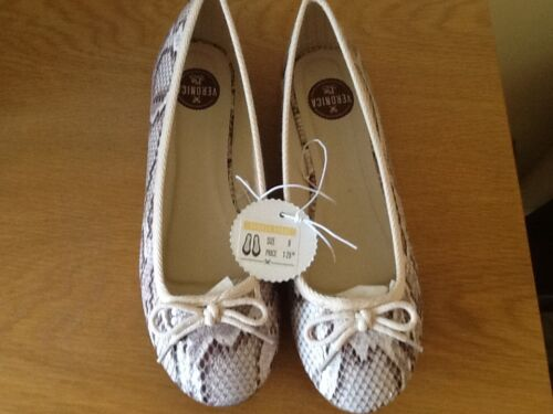 quality,rrp £18.00 Ballerina pumps,sizes 3-7.5,mock snakeskin,by Veronica Pie
