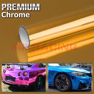 "4/""x8/"" Sample Gold Supercast Chrome Car Vinyl Wrap Sticker Decal Air Release"
