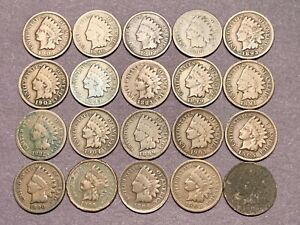 20 Coins Mixed Dates 1800 S 1900 S Indian Head Cent Lot 2 Nr Auction Ebay