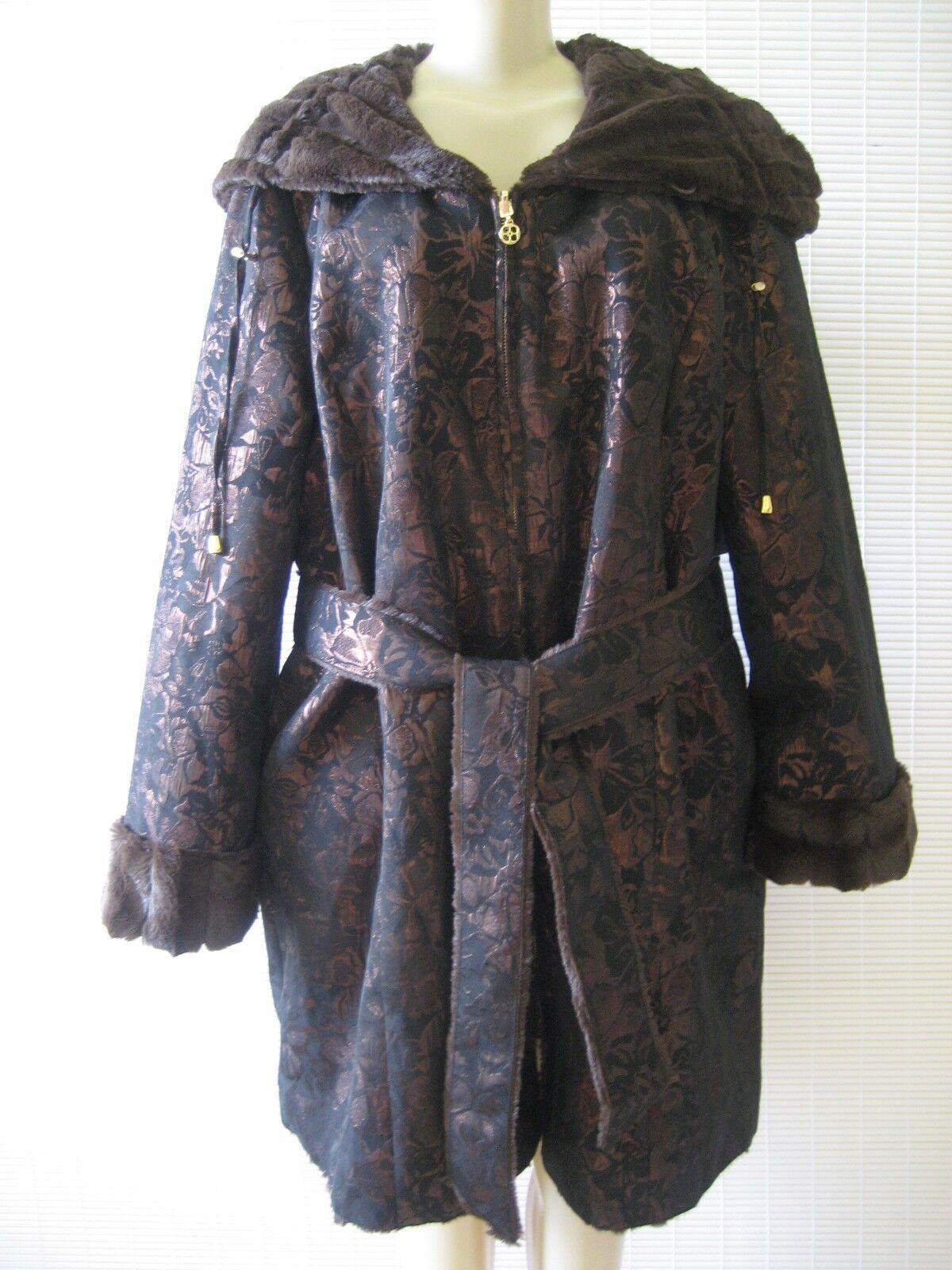IMAN marrón & Capri  Brocade Reversible Abrigo De Piel Sintética con capucha Tamaño XL-Nuevo con etiquetas  precios bajos