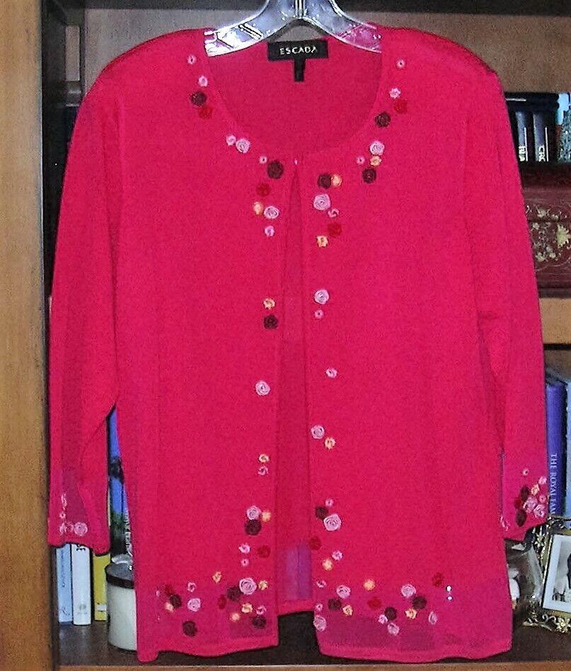NWOT Escada Red Cardigan W Flower Applique Size 44 14