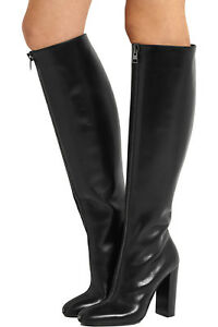449bb9c27bf Fashion Women Round Toe Knee High Boots Black Chunky Heel Shoes ...