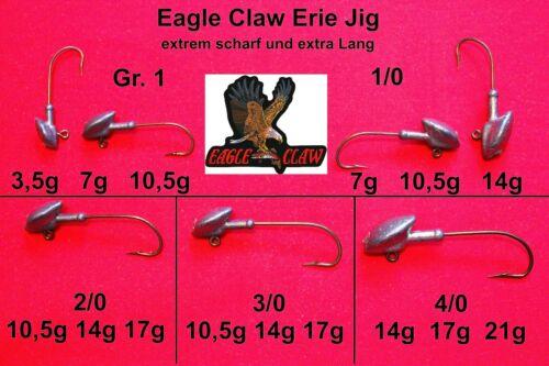 5x Eagle Claw Long Erie Jig Kopf Jighaken Jigköpfe Bleikopf