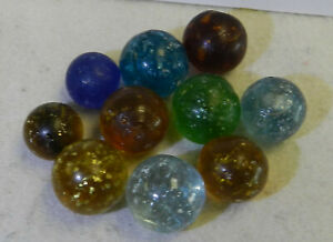11796m-Vintage-Group-or-Lot-of-10-Rough-German-Handmade-Mica-Marbles-55-to-68