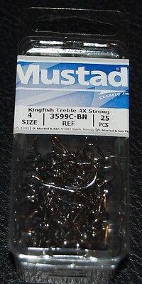 50pcs MUSTAD TREBLE HOOKS 3X SIZE #4 7794BN KINGFISH BLACK NICKEL STRAIT POINT