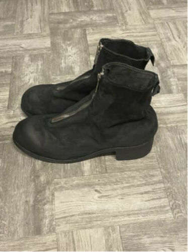 Authentic Guidi Black PL1 Leather Boots Front-Zip