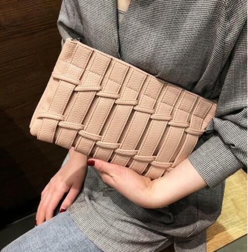 Leather Clutch Cross Knitted Design Women Handbag Zipper Crossbody Bags