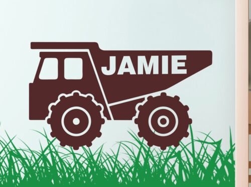 DUMP TRUCK personalised WALL ART DECAL BUILDER sticker graphic DIGGER childrens
