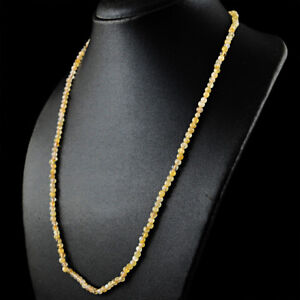 60-00-Cts-Natural-Yellow-Citrine-Round-Shape-Beads-Single-Strand-Necklace-RS