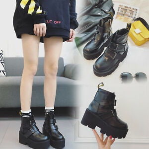 Women-039-s-Lace-Up-Creepers-Platform-Ladies-Ankle-Boots-Chunky-Heel-Shoes-Punk