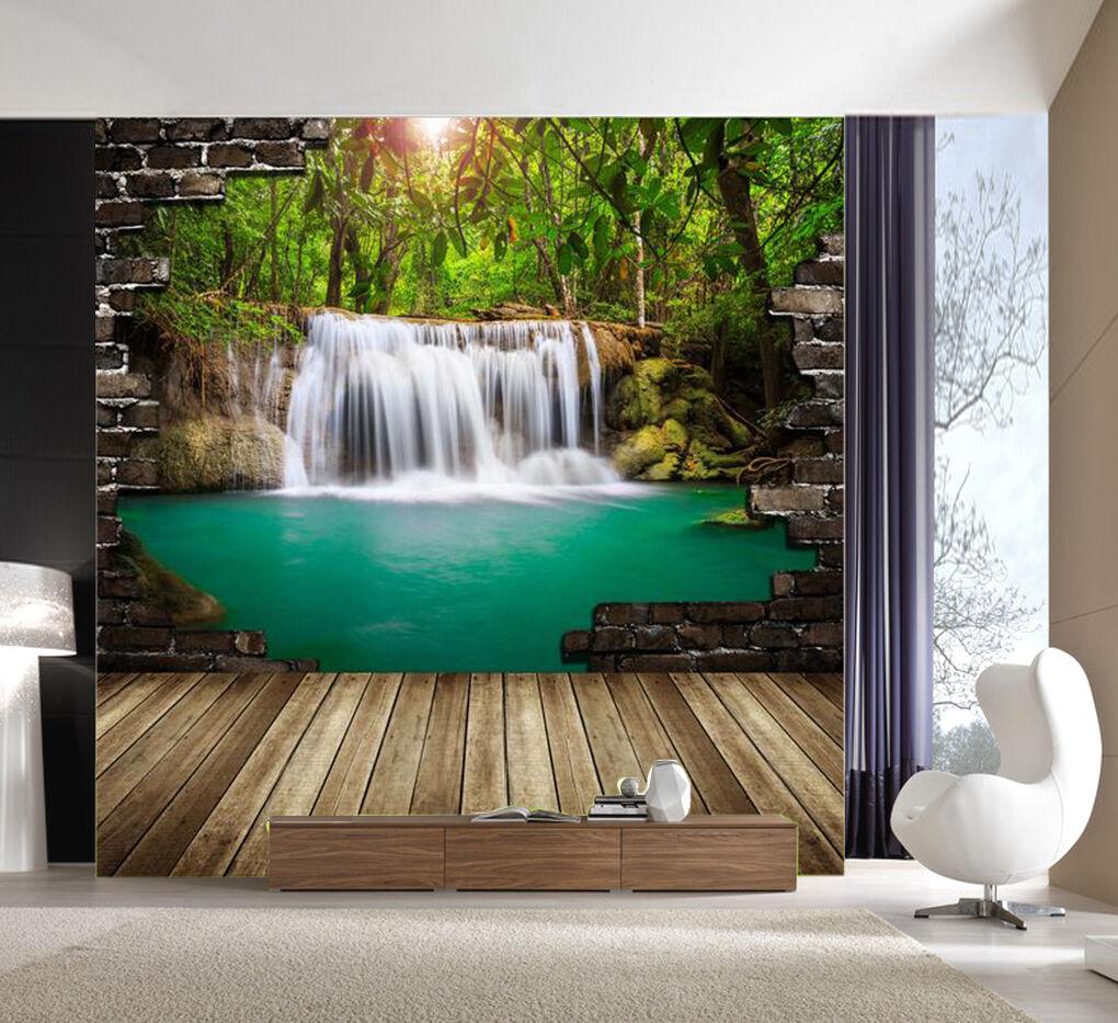 3D Wasserfall, Wald 67 Fototapeten Wandbild Fototapete BildTapete Familie