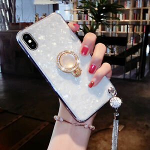 Luxury-Diamond-Tassel-Ring-Holder-Stand-Case-Cover-For-iPhone-8-7-Plus-6s-XS-XR