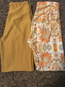 Leggings Orange Os Cream di Mustard Lularoe 7nvrxFPq71