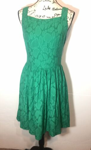 Duro Olowu Ribbed Fit & Flare Dress Size 10 Green
