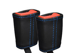 BLUE STITCH 2X FRONT SEAT BELT LEATHER SKIN COVERS FITS FORD FIESTA MK9 13-16