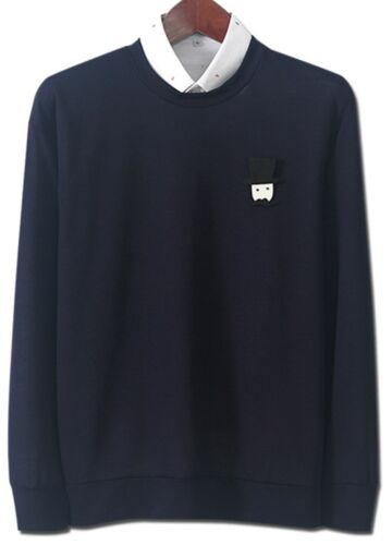 S//M Mens Crew Neck Round Neck Thin Sweater Shirts Long Sleeve Jumper Top W036