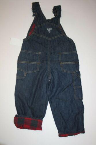 New OshKosh Boys Flannel Red Plaid Lined Dark Denim Overalls NWT 24m 2T 3T 4T 5T