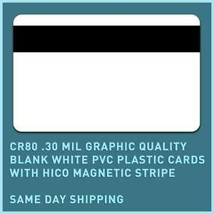50 x CR80.30 Mil Graphic Quality Blank White PVC cards, with HiCo magnet. stripe