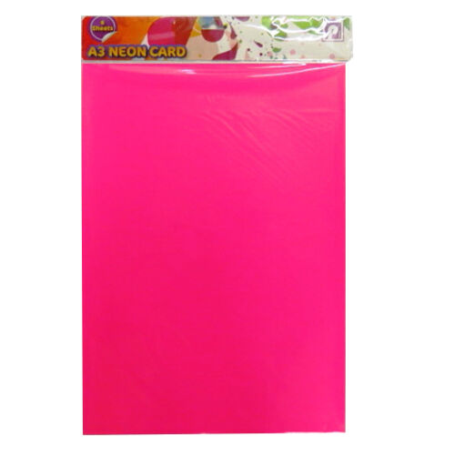 Mixed Colours Pack of 6 A3 Neon Fluorescent Card Size 420mm x 297mm