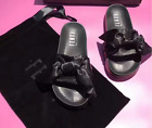 New Women Flip Flop Bow Satin Slide Slip On Flat Sandal Shoe Slippe