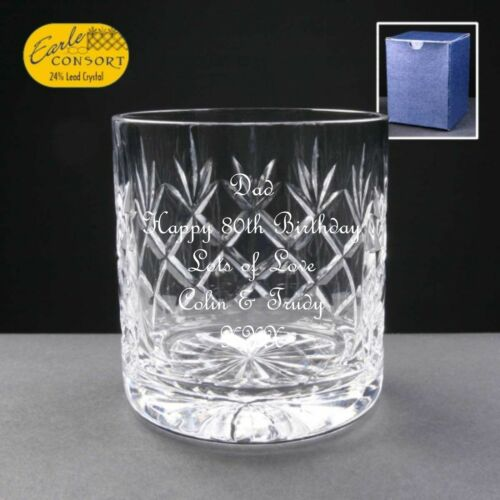 Personalised Whisky Cut Glass Birthday Gift 81st 82nd 83rd 84th 85th 86th 87th