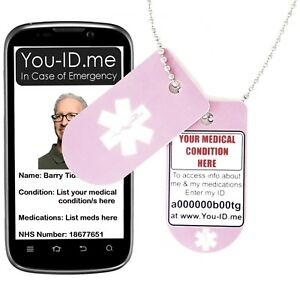Details about Pink Bullet Medical ID Alert Identity Necklace ICE SOS Dog  Tag Talisman Chain