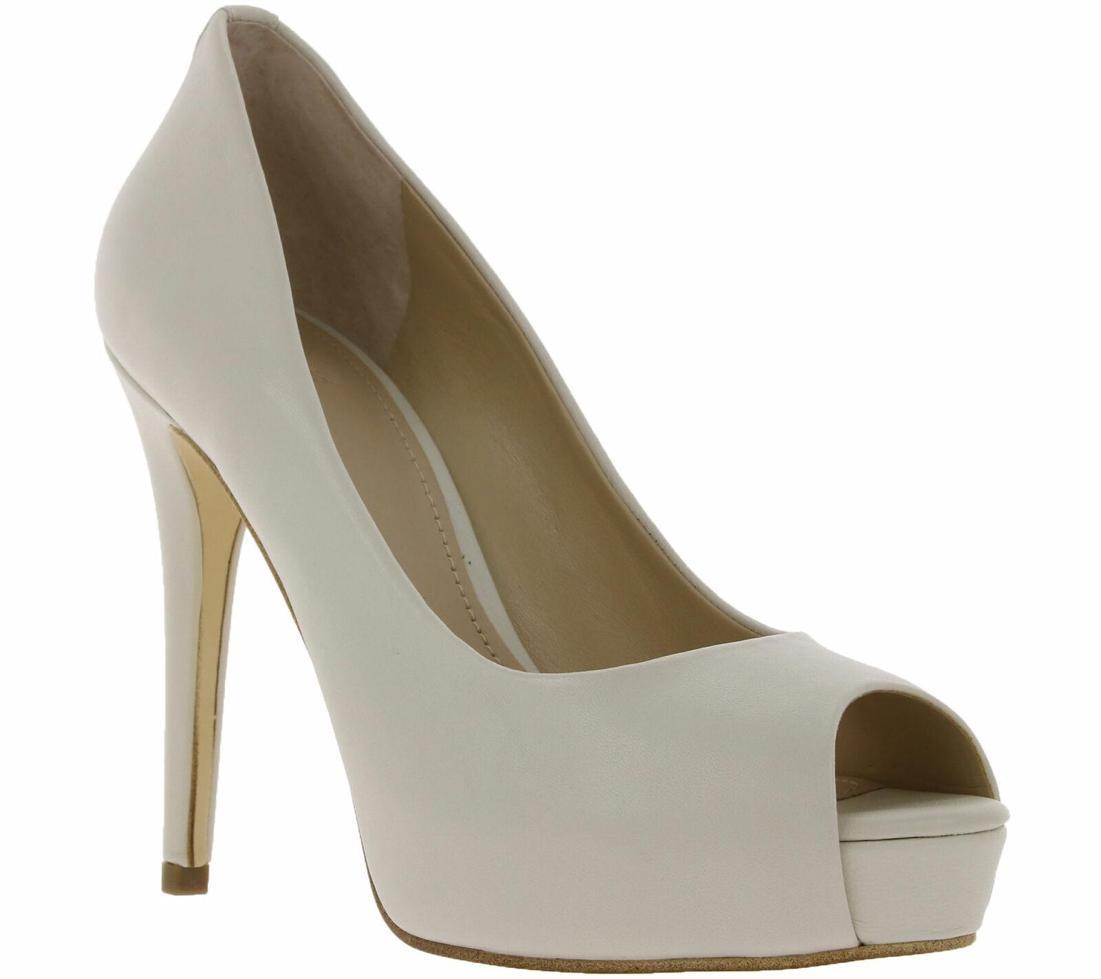 GUESS Schuhe Echtleder-Pumps moderne Damen Peeptoes im schlichten Look Weiß