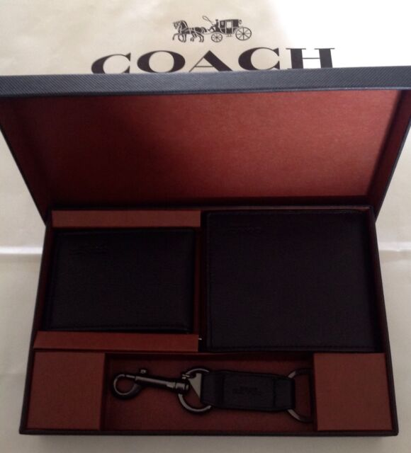 21c4ee654b172 COACH F64118 Mens Compact ID Sport Calf Leather Wallet Gift Set F64118 Black  NWT