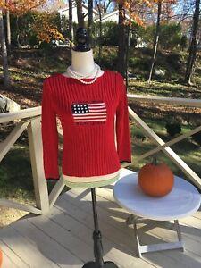 Lauren Kabel Jeans Knit L Vintage Womens Størrelse Usa Polo Rød Ralph Sweater Flag pE066gwxIq