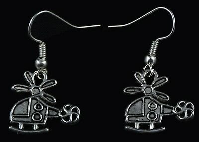 Hand Made  Silver Colour Helicopter Earrings HCE399
