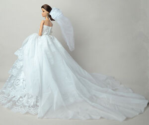 White-Fashion-Party-Dress-Wedding-Clothes-Gown-Veil-For-11-5in-Doll-S601U