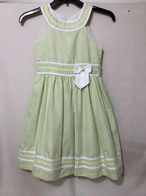 256db5f44be Girls sz 12 Bonnie Jean green sleeveless party dress shimmer stripe fully  lined