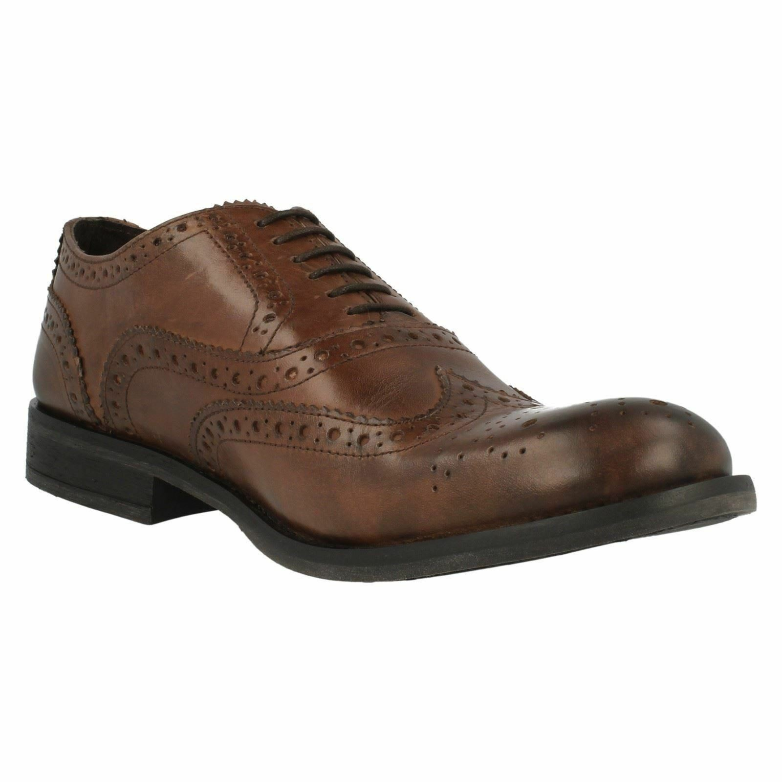 SALE Base London Walnut Gents Marrón Leather Leather Leather Full Brogue Wingtip Oxford Zapatos 233369