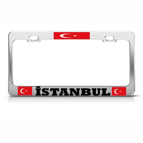 TURKISH FLAG ISTANBUL HEAVY DUTY CHROME LICENSE PLATE FRAME NEW TAG HOLDER