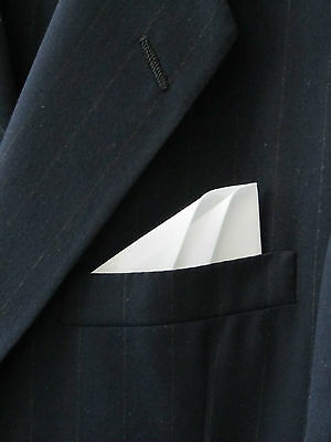POCKET SQUARE White Polka Dot 2 Point Wing Style Pre Folded /& Sewn