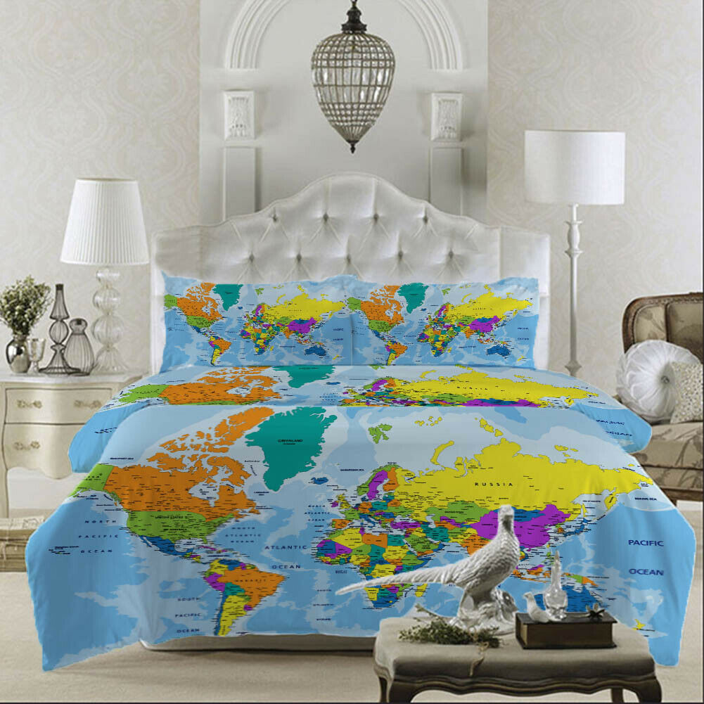 Farbe Map World 3D Druckening Duvet Quilt Will Startseites Pillow Case Bettding Sets