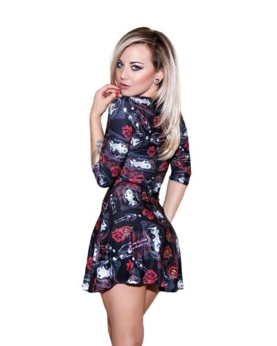 Jour de The Dead Mexican sugar skull squelette roses manches 3//4 Robe Patineuse Goth