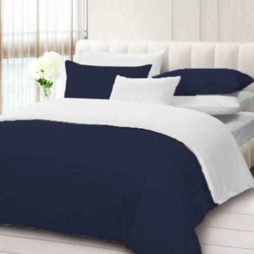 3 PC Reversible Duvet Set White Fitted Sheet 1000 TC Egyptian Cotton UK Emperor