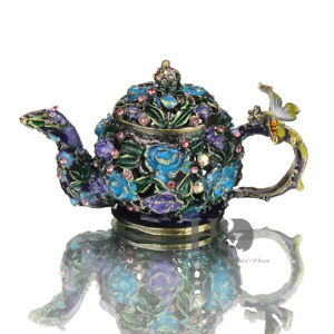 Handmade-Teapot-Crystal-Metal-Trinket-Boxes-Collectible-Figurines-Birthday-Gifts