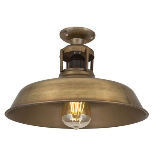 Vintage Industrial Style Barn Slotted Flush Mount Ceiling Light Brass