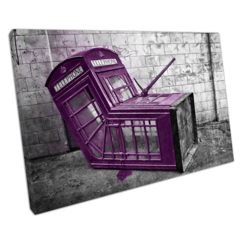 Purple Banksy style phone box street Art Ready to Hang Canvas X1610