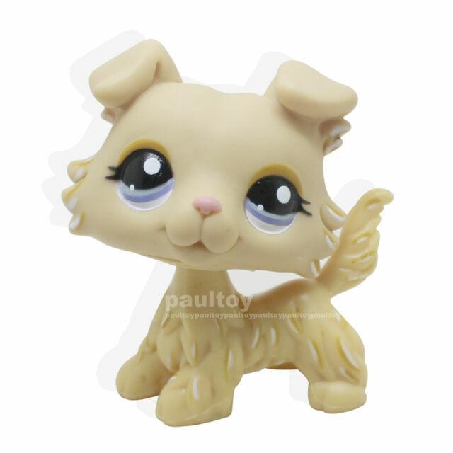 Littlest Pet Shop LPS Cream Yellow Collie Dog #1194  Blue Purple Eyes Girl toys