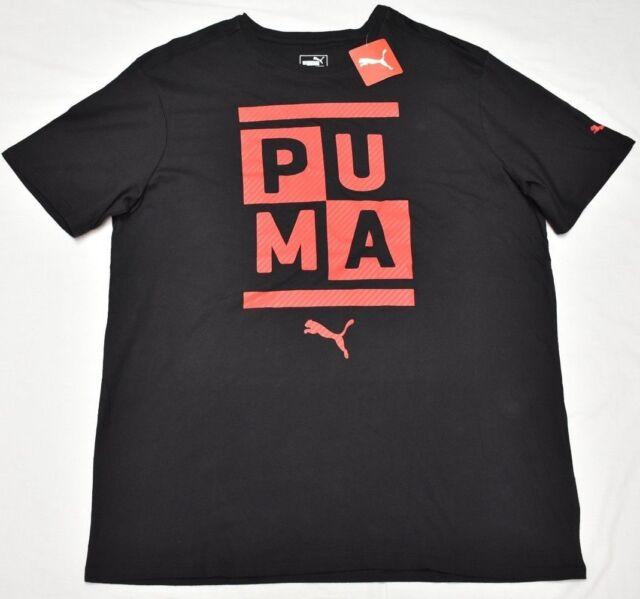 Puma T-Shirt Men s Size XL Stacked Puma Crewneck Logo Graphic Tee Black Red  P059 c1a6d7436fa0