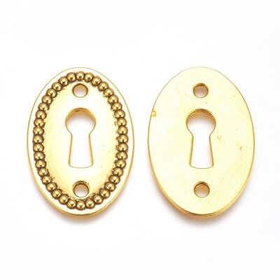 1 Keyhole Pendant Connector Antique Gold Tone Steampunk Lock Charm Link